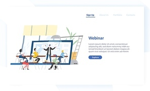 Landing page template with people sitting in front of lecturer displaying on screen of giant laptop. Webinar, online course, internet education. Modern flat vector illustration for advertisement