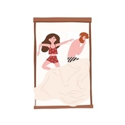 Funny young couple lying relaxed under blanket. Cute man sleeping on side and woman spreading herself on bed. Girl and boy napping at home. Top view. Flat cartoon colorful vector illustration