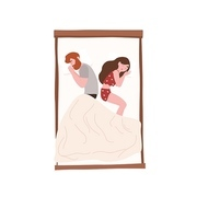Happy young couple sleeping back to back at night. Romantic partners lying on bed. Cute girl and boy napping, slumbering or dozing at home. Rest or repose. Flat cartoon colorful vector illustration