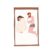 Funny young couple on comfy bed. Romantic partners slumbering at night. Cute woman sleeping under duvet and man shivering with cold. Rest or repose. Flat cartoon colorful vector illustration