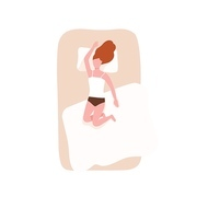 Redhead woman sleeping on her back on comfortable bed. Female character relaxing during night slumber. Young girl napping on cozy mattress in bedroom. Top view. Flat cartoon vector illustration