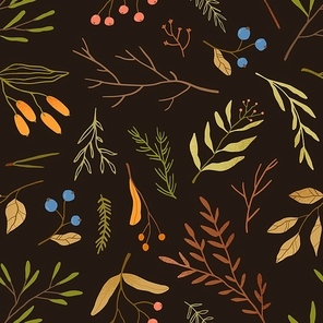 Autumn season botany flat vector seamless pattern. Dried leaves and branches texture. Blueberries twigs on black background. Fall season herbarium texture. Forest berries textile, wallpaper design