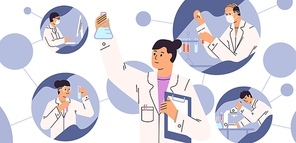 Chemical laboratory research. Vaccine discovery concept. Scientists with flasks, microscope and computer working on antiviral treatment development. Vector illustration in flat cartoon style.