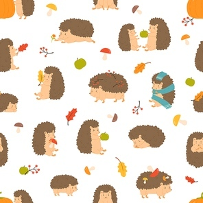 Cute cartoon funny hedgehogs seamless pattern vector flat illustration. Adorable wild animals sleep, carrying berries, playing surrounded by autumn leaves, apple and mushrooms on white background.