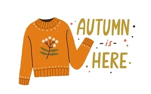 Autumn is here colorful lettering composition with warm knitted sweater vector flat illustration. Creative seasonal fall clothes decorated by branch with leaves and berries isolated on white.