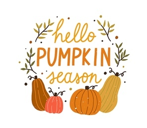 Hello pumpkin season cute colorful composition with quote inscription vector flat illustration. Colorful autumn hand drawn lettering decorated with design elements isolated. Creative fall phrase.