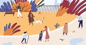 People walking and spend time together at autumn park vector flat illustration. Man, woman and children relax, photographing, riding on kick scooter and playing with dog. Seasonal outdoor activity.