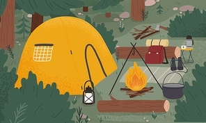 Empty forest touristic camp with tent and bonfire vector flat illustration. Equipment for adventure tourism and active lifestyle. Campsite or halt during travel, bushcraft or backpacking.