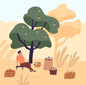 Tired man sitting on bench eating apple relaxing after harvest picking vector flat illustration. Male agricultural worker resting under tree at garden. Guy at autumn seasonal agriculture work.
