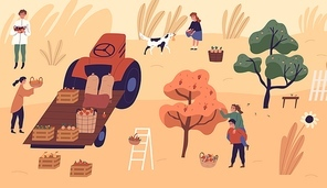 Family of farmers picking seasonal fruits at garden vector flat illustration. Man, woman and child carrying baskets, putting crates at tractor, playing with dog. Agricultural family working together.