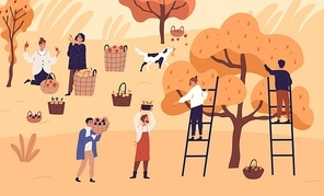 People agricultural workers picking seasonal fruits at garden vector flat illustration. Man and woman farmer collect pear, plum, orange and apple at plantation. Autumn harvest, agriculture work.