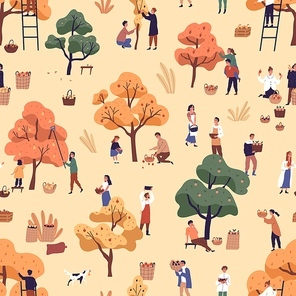 Happy people picking fruits seamless pattern. Smiling man, woman and children gathering apples in garden vector flat illustration. Cartoon person with autumn harvest or seasonal agricultural work.