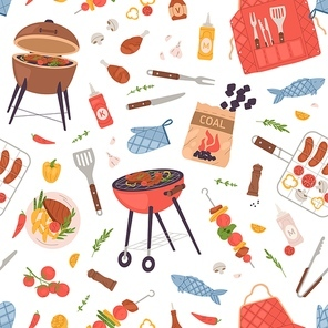 Seamless pattern with food for BBQ party. Repeatable texture with barbecue grill, roasted meat and tools on white background. American barbeque backdrop for wrapping. Colored flat vector illustration.