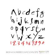손으로 쓴 알파벳 - 벡터 이미지