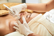 Process of professional facial lymphatic drainage massage