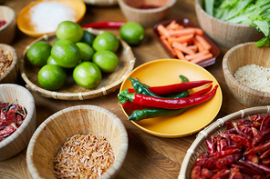 Close up background of various spices and ingredients in wooden bowls on table, copy space