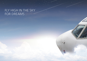 하늘 구름 위 비행기의 모습