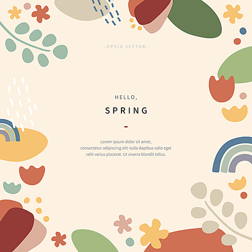 hand drawn organic cut out shapes of spring concept collage inspired by henri matisse style