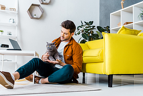 handsome man with british shorthair cat sitting on floor in living room