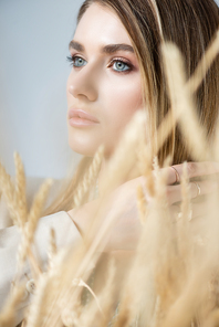 young woman looking away near spikelets of wheat on blurred foreground