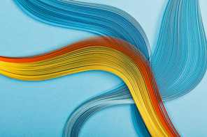 multicolored bright abstract lines on blue background