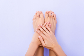 top view of female feet and hands with glossy nails on pastel purple background