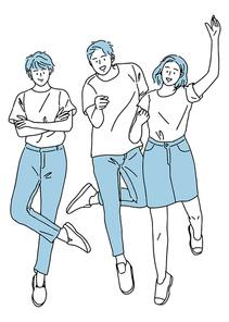 웃으며 점프하고 있는 젊은 학생들