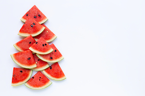 Watermelon pieces on white background. Copy space