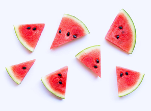 Watermelon sliced on white background. Top view