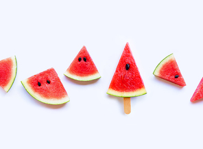 Fresh watermelon slices on white background. Top view