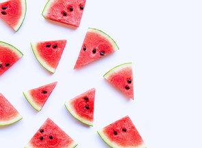 Fresh watermelon slices on white background. Copy space