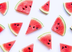 Fresh watermelon slices on white background.