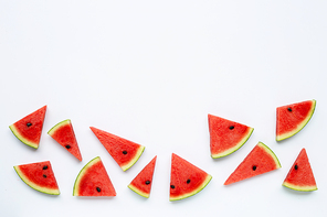Slices of watermelon isolated on white background, Copy space