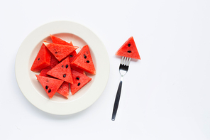 Summer fruit, Slices of watermelon on white plate isolated on white background, Copy space