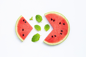 Summer fruit, Slices of watermelon with mint leaves isolated on white background, top view