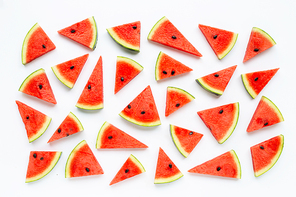 slices of watermelon isolated on white background, top view