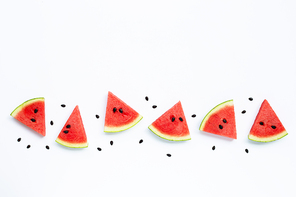 Summer fruit, Slices of watermelon with seeds on white background, Copy space