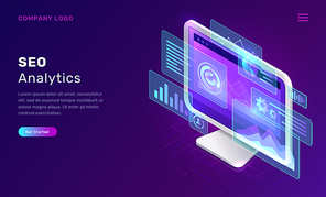SEO or search engine optimization analytics, concept vector isometric illustration. Computer monitor with blue virtual holographic projections with graphs and charts for data analysis, landing webpage