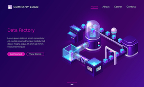 Data processing factory, isometric technology concept vector. Server with glass dome and virtual object, conveyor belt with transporting data, ultraviolet landing web page with blue neon icons