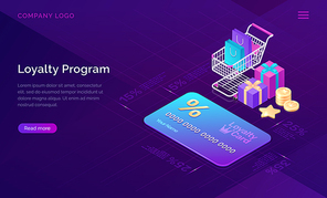 Loyalty program, vector isometric concept. Big discount card with percent, shopping cart and gift boxes and cash coins icons on ultraviolet background. Online service with collecting points