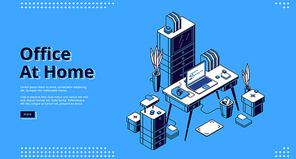 Office at home isometric landing page. Workplace with computer table, Pc monitor and litter bin, working place desk for businessman, analyst, freelancer, 3d vector illustration, web banner line art