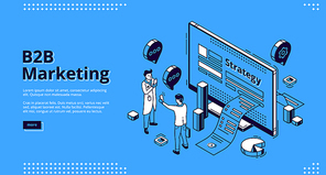 B2B marketing isometric landing page. Business to business way of communication strategy and commerce between companies. Men communicate front of desktop with paper bill, 3d vector line art web banner