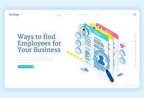Ways to find employees to business. Concept of search and hire staff for company. Vector landing page of recruit and choice candidate for job with isometric illustration of people data and cv