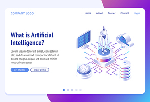 Ai, artificial intelligence isometric landing page. Cyborg surrounded with human brain, laptop, cloud storage and server. Robot innovation, virtual data, futuristic technologies 3d vector web banner