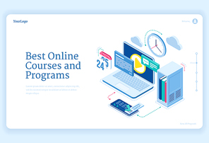 Online courses and programs isometric landing page equipment for distant education and internet studying. Computer with software, files and smartphone, video training technology, 3d vector web banner