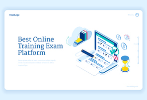 Best online training exam platform banner. Concept of internet learning, digital access to examination. Vector isometric illustration of laptop with checklist form, books and hourglass