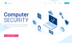 Computer security banner. Concept of safety internet technology, data secure. Vector landing page of information protect with isometric illustration of laptop and icons of padlock, cloud and shield