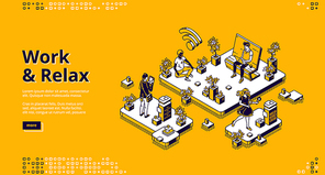 Work and relax banner. Concept of work organization and healthy routine without stress. Vector landing page with isometric office with resting people in meditation and virtual game