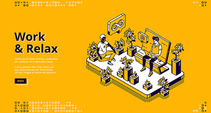 Work and relax isometric landing page, business people working on laptop sitting on bench in park and meditating in lotus posture among plants. Yoga relaxation in office, 3d vector line art web banner