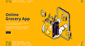 Online grocery app isometric landing page. Food order and delivery service application for mobile phone. Hands giving shopping bag with products from smartphone screen, 3d vector line art, web banner